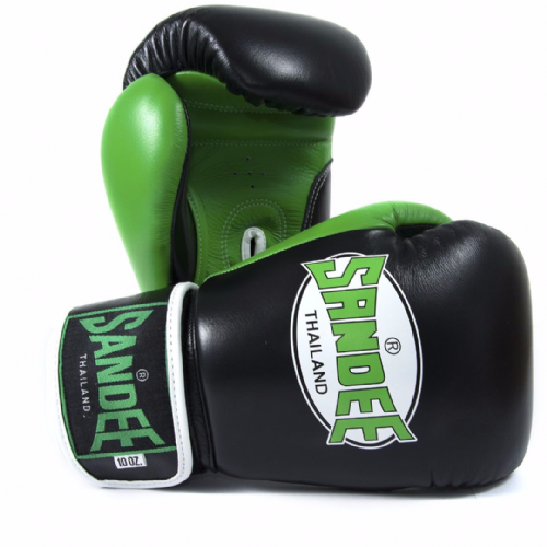 Sandee Neon Velcro Boxing Gloves - Green